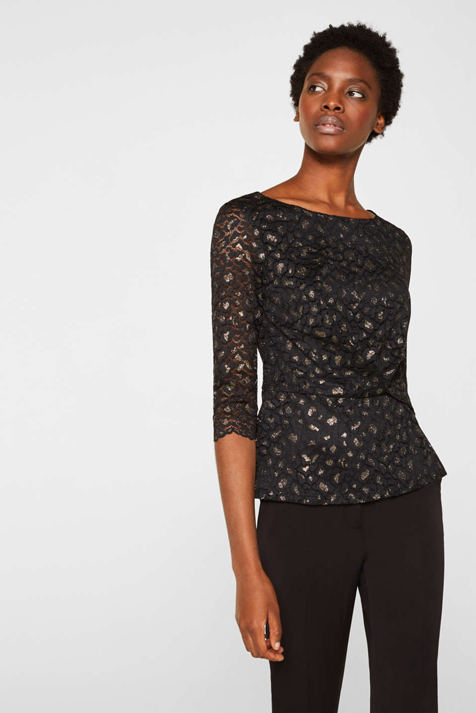Lace blouse in a glittering leopard look, BLACK, detail image number 0
