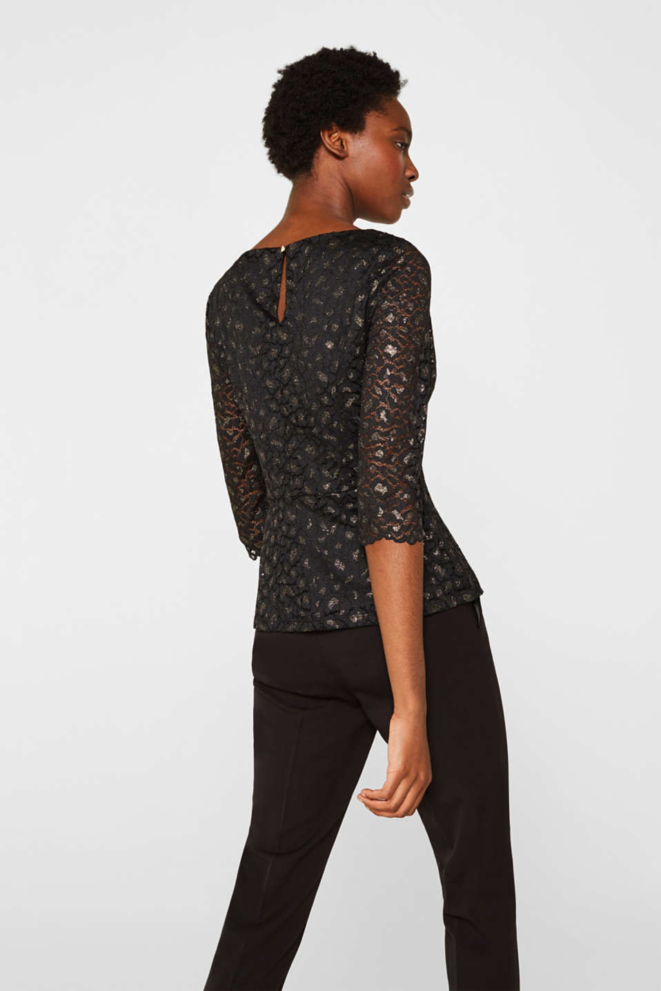 Lace blouse in a glittering leopard look, BLACK, detail image number 3