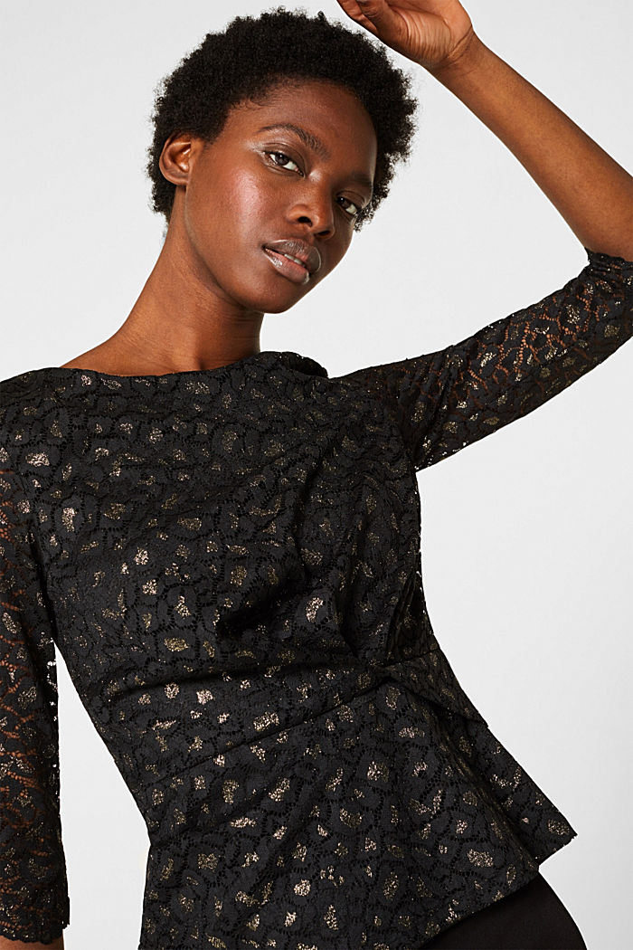 Lace blouse in a glittering leopard look