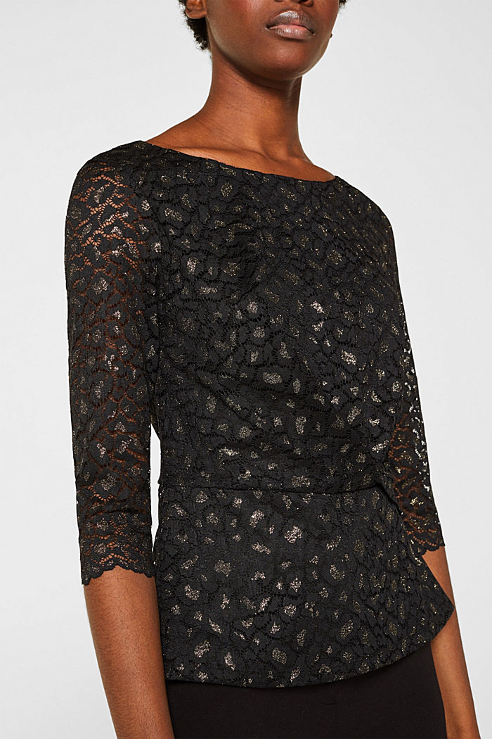 Lace blouse in a glittering leopard look, BLACK, detail image number 2