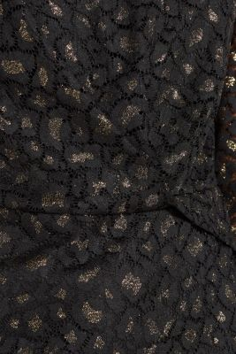 Lace blouse in a glittering leopard look, BLACK, detail