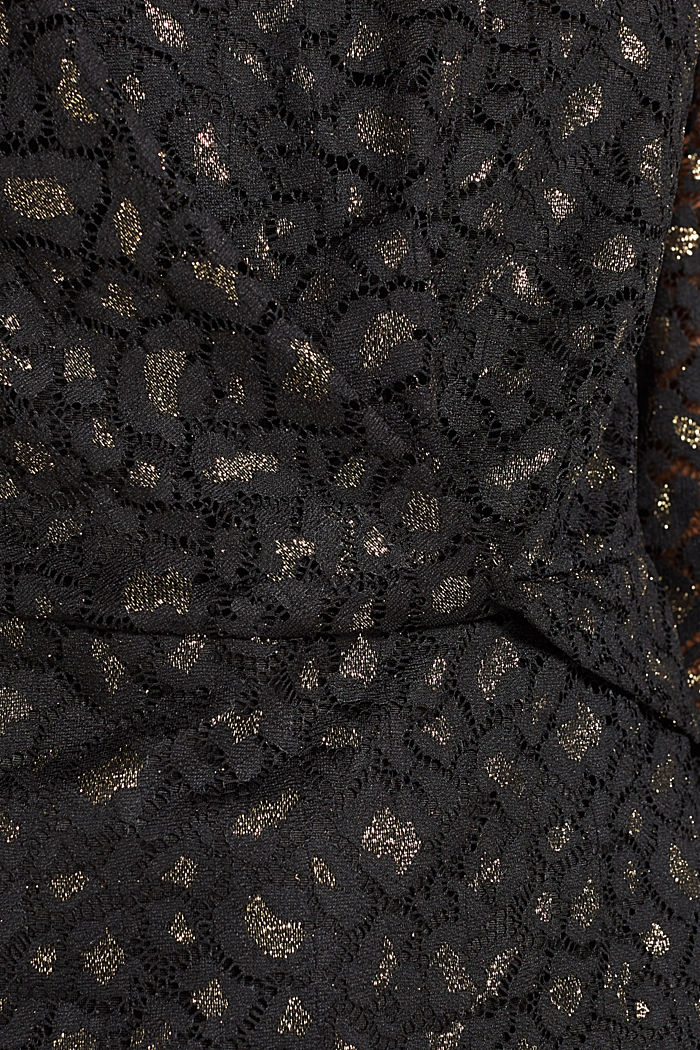 Lace blouse in a glittering leopard look, BLACK, detail image number 4