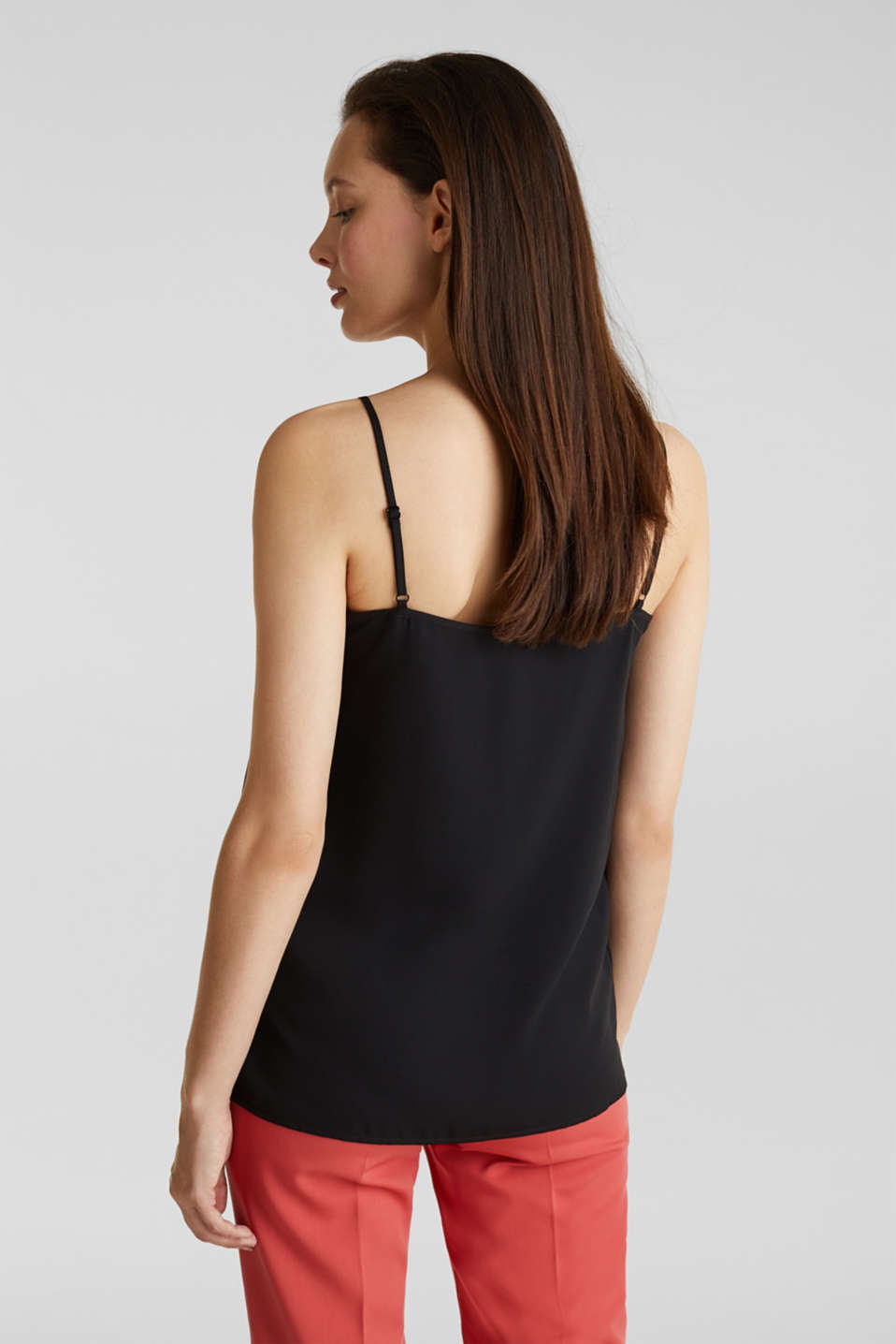 Top with adjustable spaghetti straps and lace, BLACK, detail image number 3