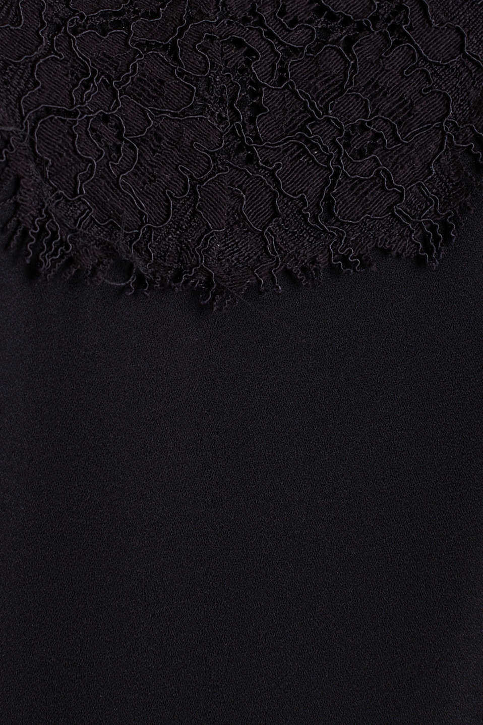 Top with adjustable spaghetti straps and lace, BLACK, detail image number 4