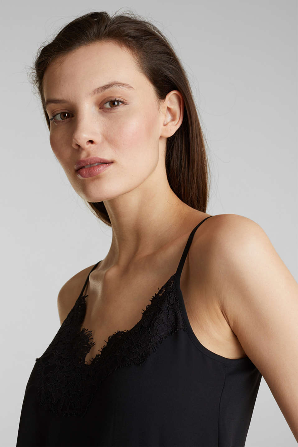 Top with adjustable spaghetti straps and lace, BLACK, detail image number 6
