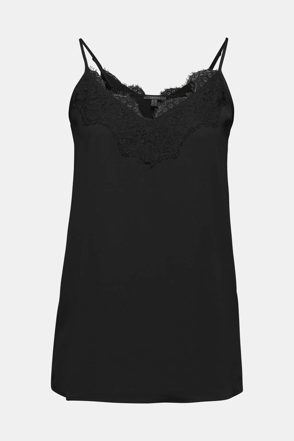 Top with adjustable spaghetti straps and lace, BLACK, detail image number 7