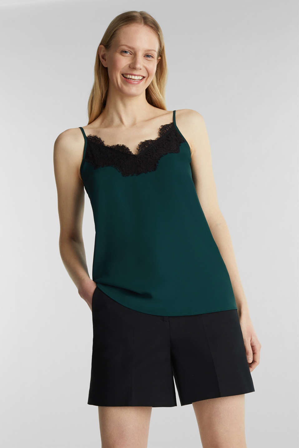Top with adjustable spaghetti straps and lace