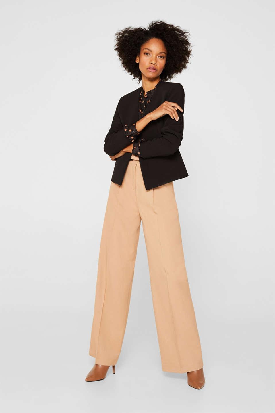 Satin blouse with voluminous sleeves, BLACK 2, detail image number 1