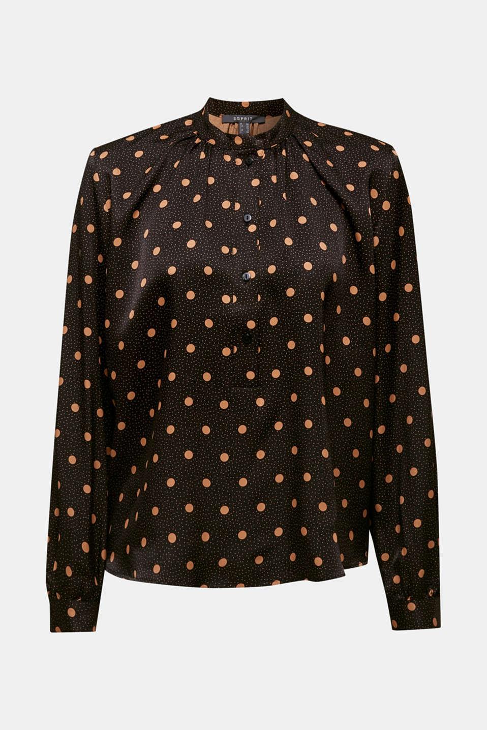 Satin blouse with voluminous sleeves, BLACK 2, detail image number 5
