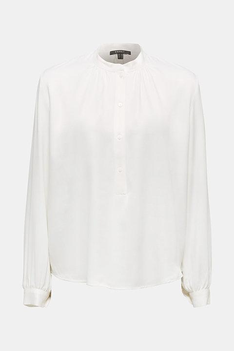Satin blouse with voluminous sleeves