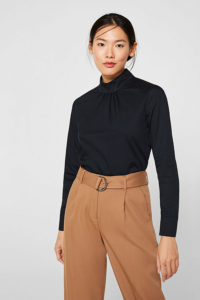 Stretch blouse with a stand-up collar, BLACK, detail image number 0