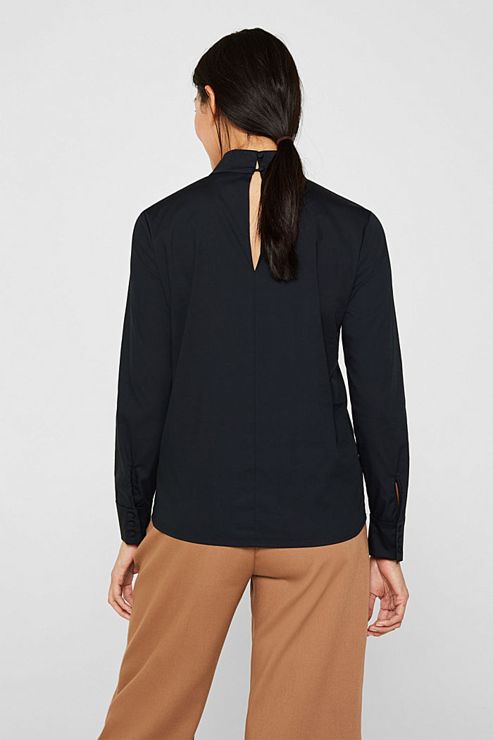 Stretch blouse with a stand-up collar, BLACK, detail image number 3