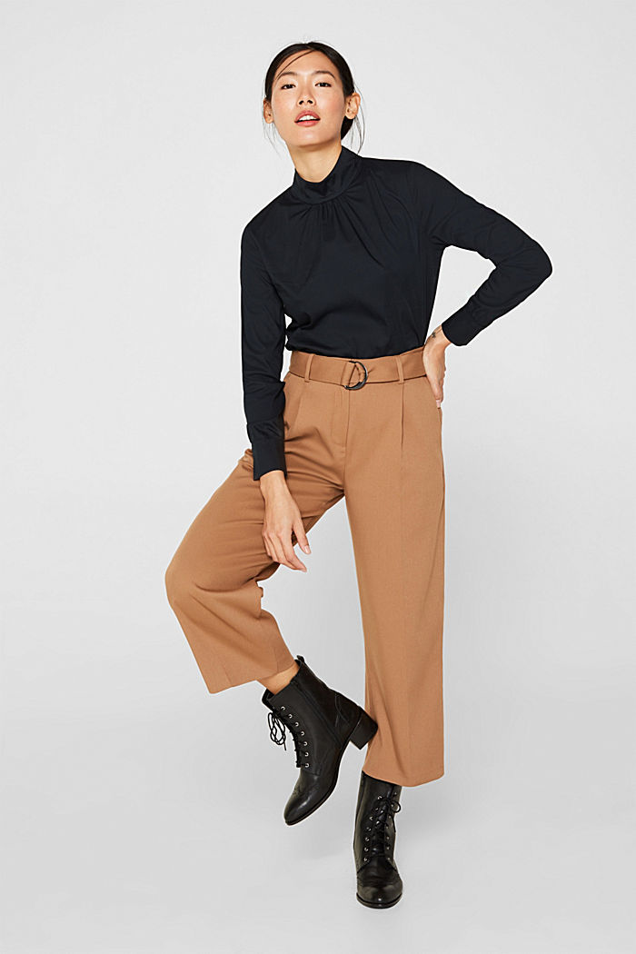 Stretch blouse with a stand-up collar, BLACK, detail image number 6