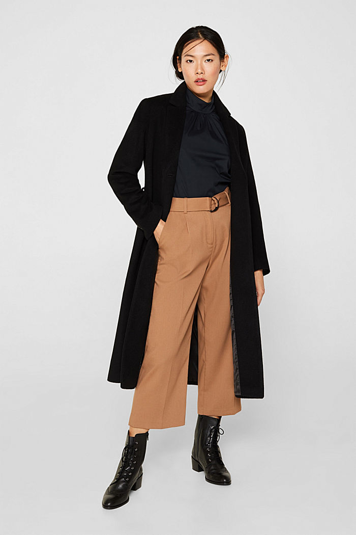 Stretch blouse with a stand-up collar, BLACK, detail image number 1