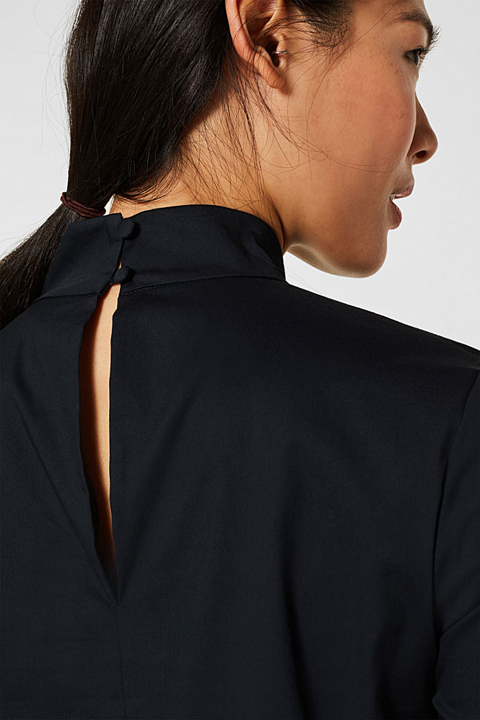Stretch blouse with a stand-up collar, BLACK, detail image number 5