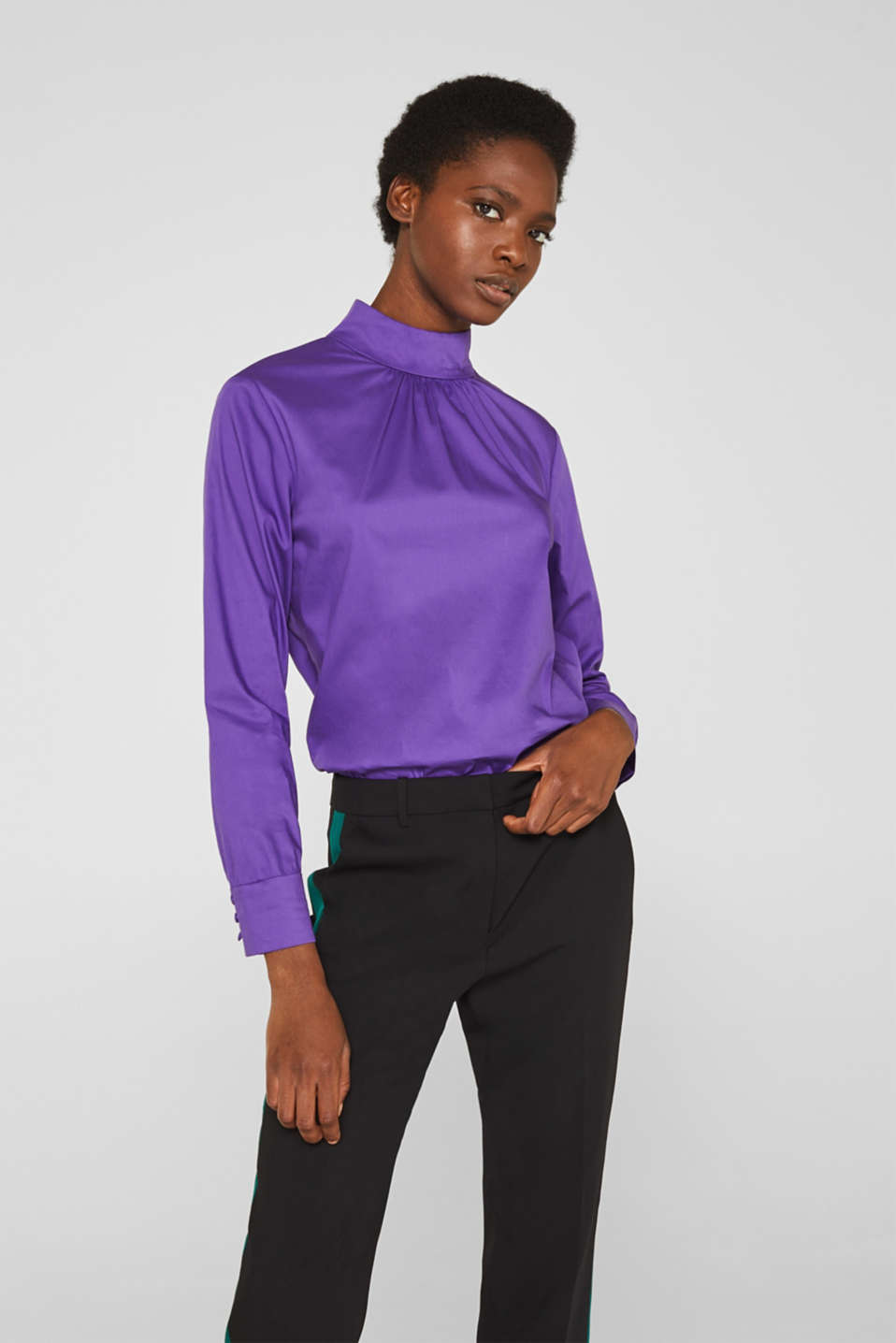 Stretch blouse with a stand-up collar, PURPLE, detail image number 0