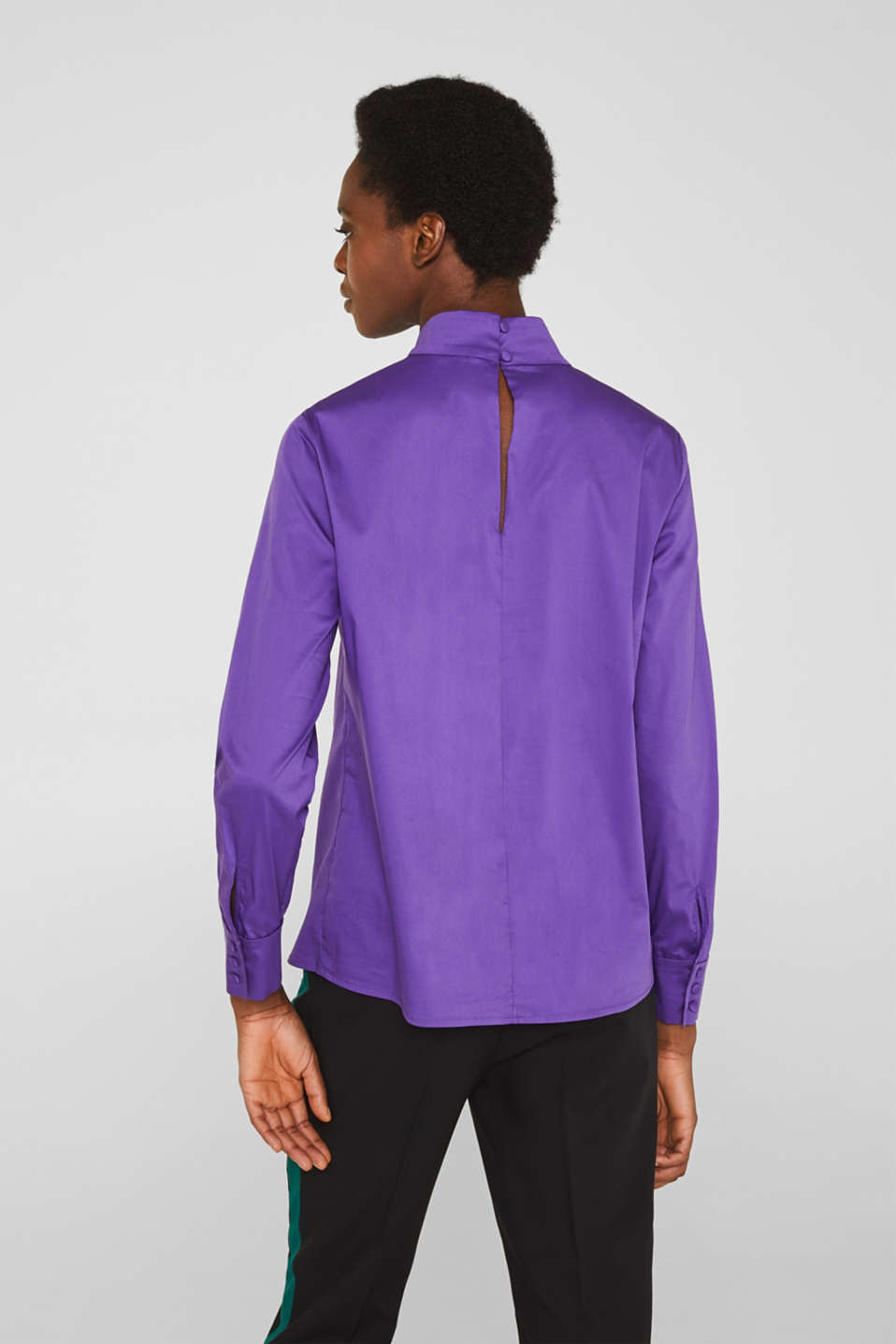 Stretch blouse with a stand-up collar, PURPLE, detail image number 3