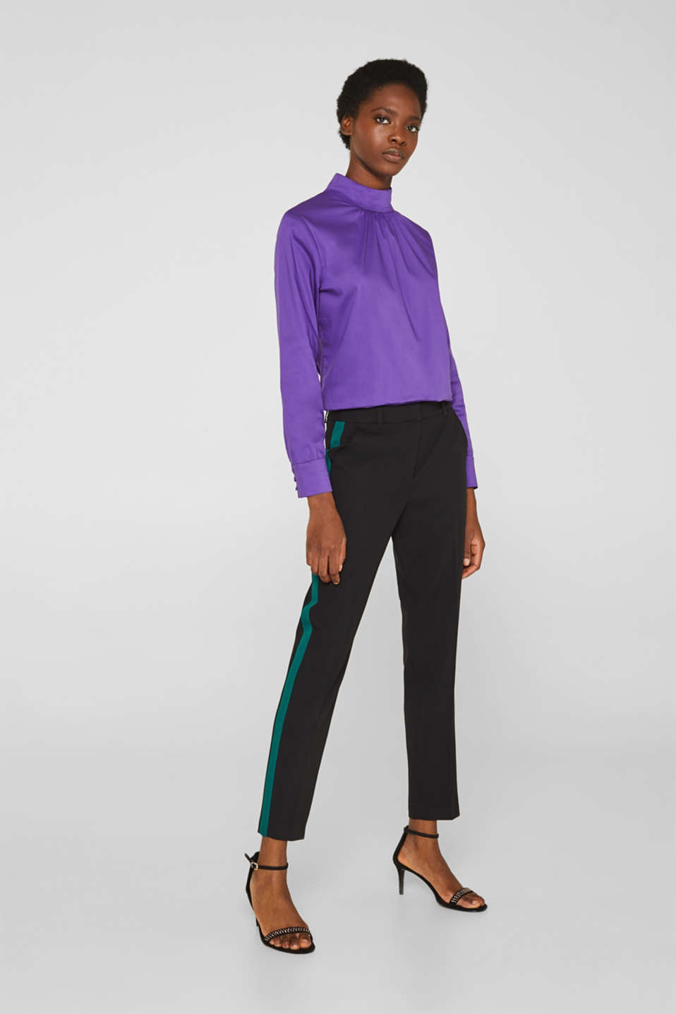 Stretch blouse with a stand-up collar, PURPLE, detail image number 4