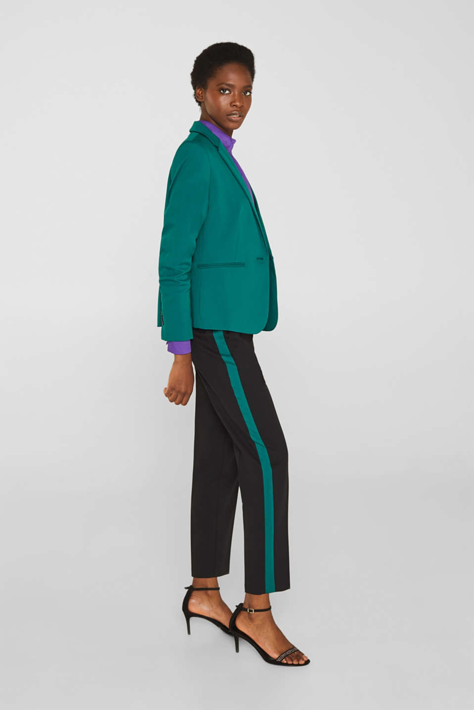 Stretch blouse with a stand-up collar, PURPLE, detail image number 1