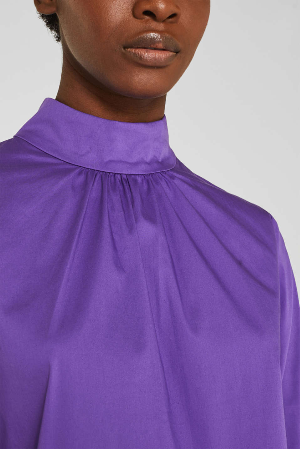 Stretch blouse with a stand-up collar, PURPLE, detail image number 2