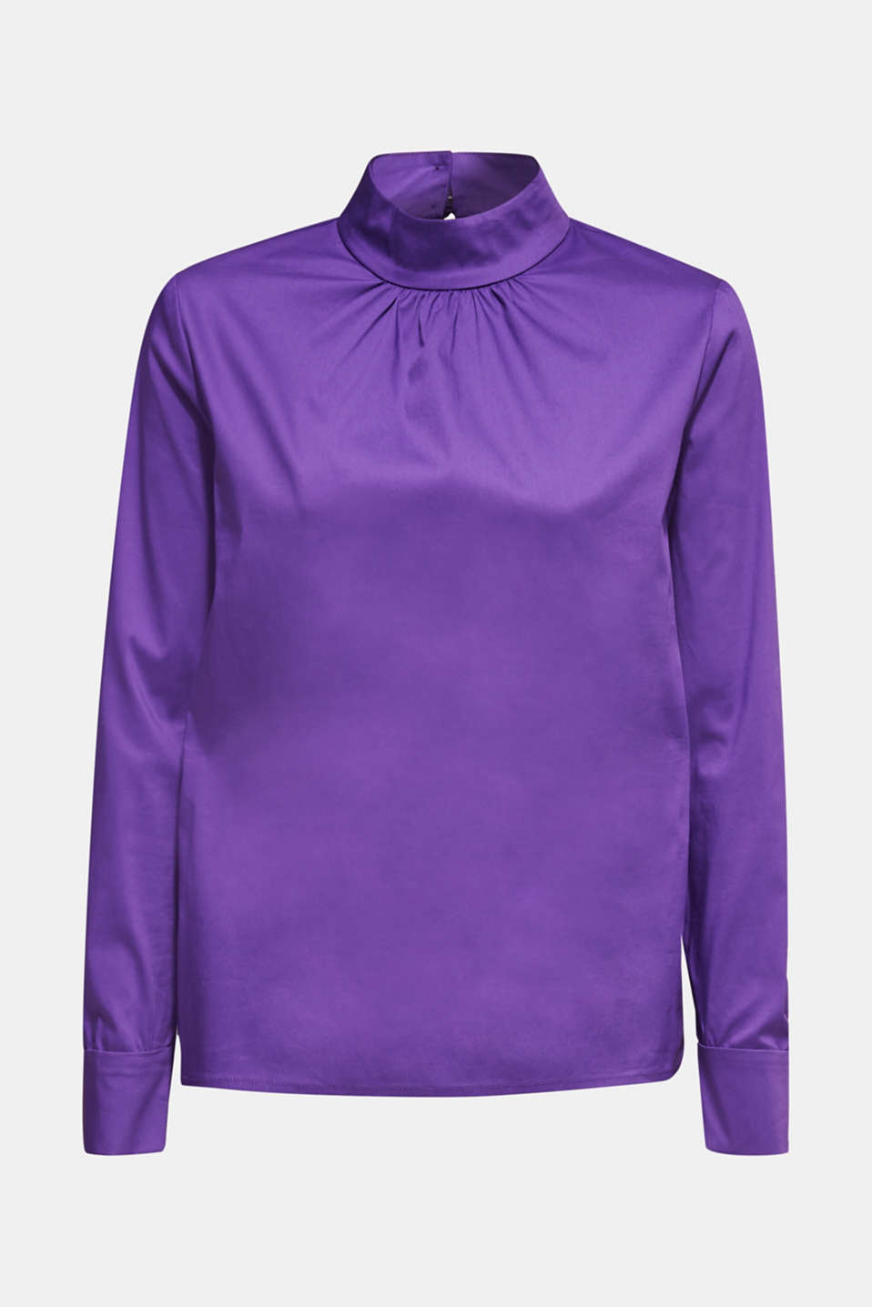 Stretch blouse with a stand-up collar, PURPLE, detail image number 5