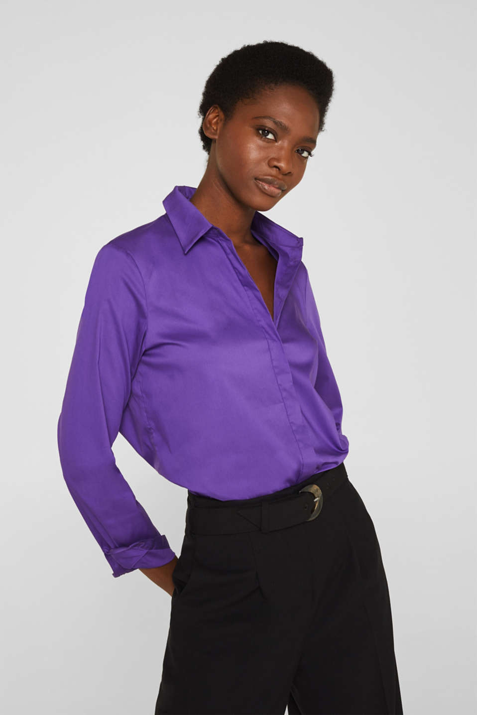 Stretch shirt blouse with a fine sheen, PURPLE, detail image number 0