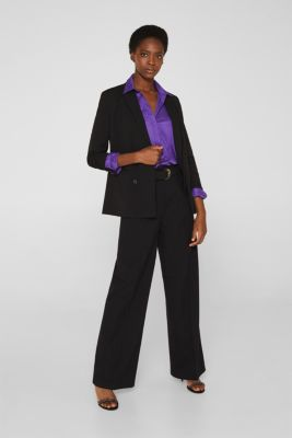Stretch shirt blouse with a fine sheen, PURPLE, detail
