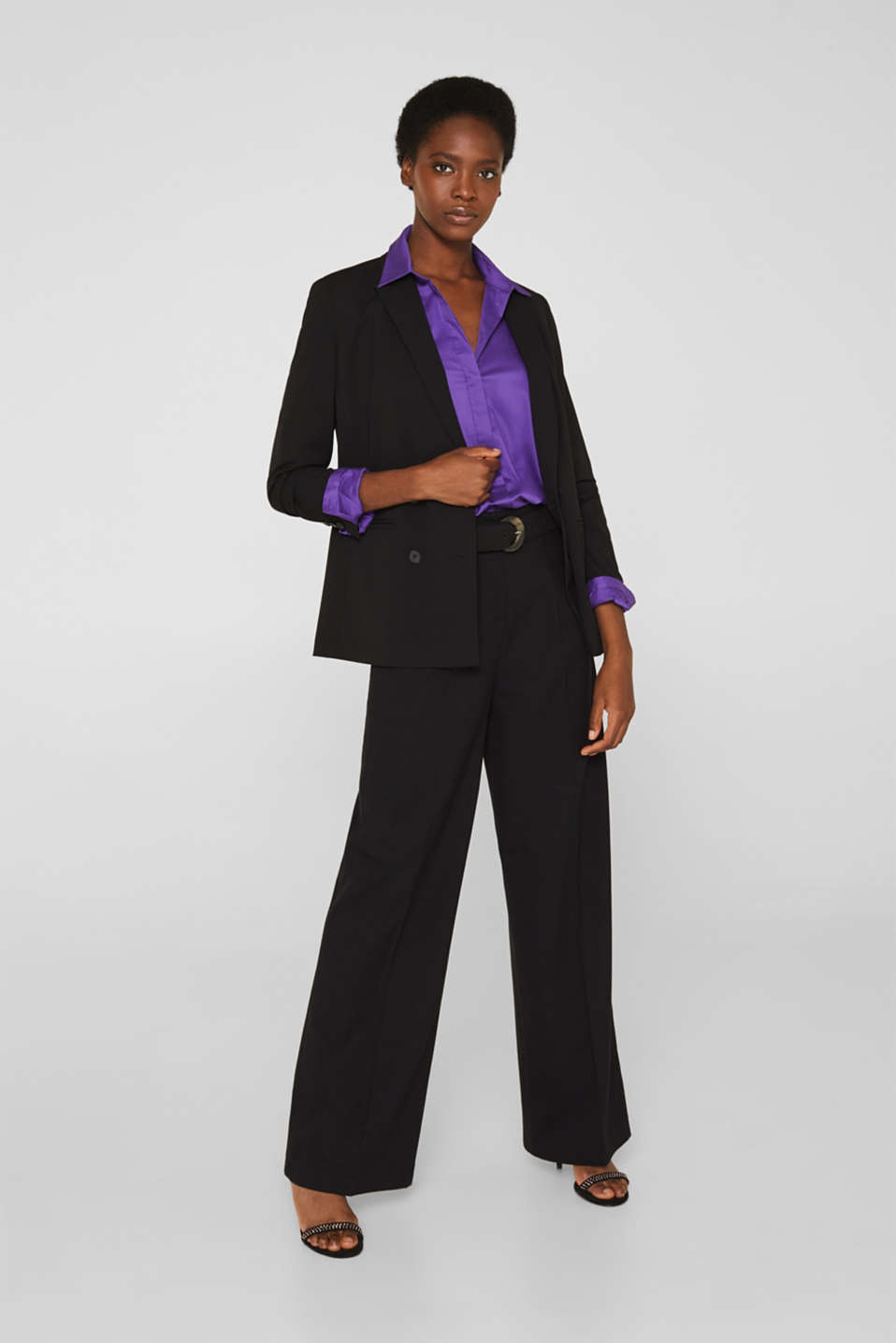 Stretch shirt blouse with a fine sheen, PURPLE, detail image number 1