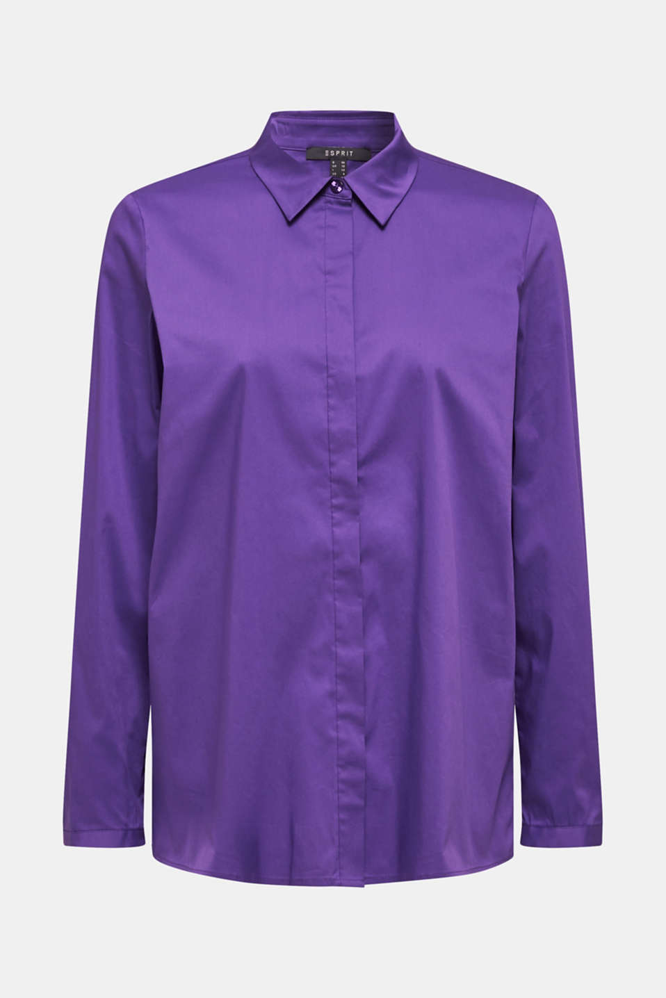 Stretch shirt blouse with a fine sheen, PURPLE, detail image number 6