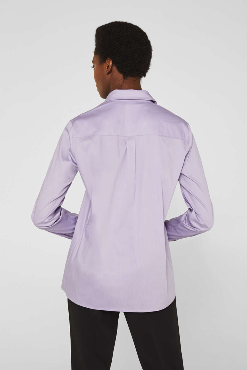 Stretch shirt blouse with a fine sheen, LILAC, detail image number 3