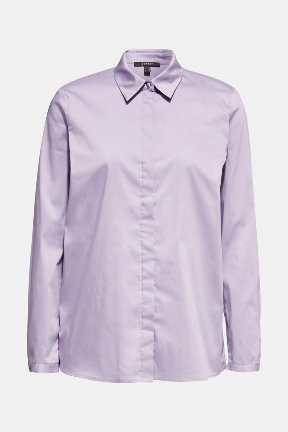 Stretch shirt blouse with a fine sheen, LILAC, detail image number 7