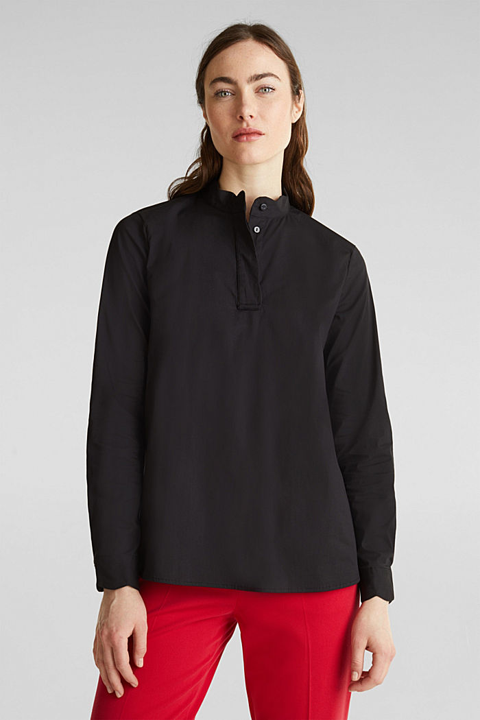 Slip-on blouse with a band collar and stretch, BLACK, detail image number 0