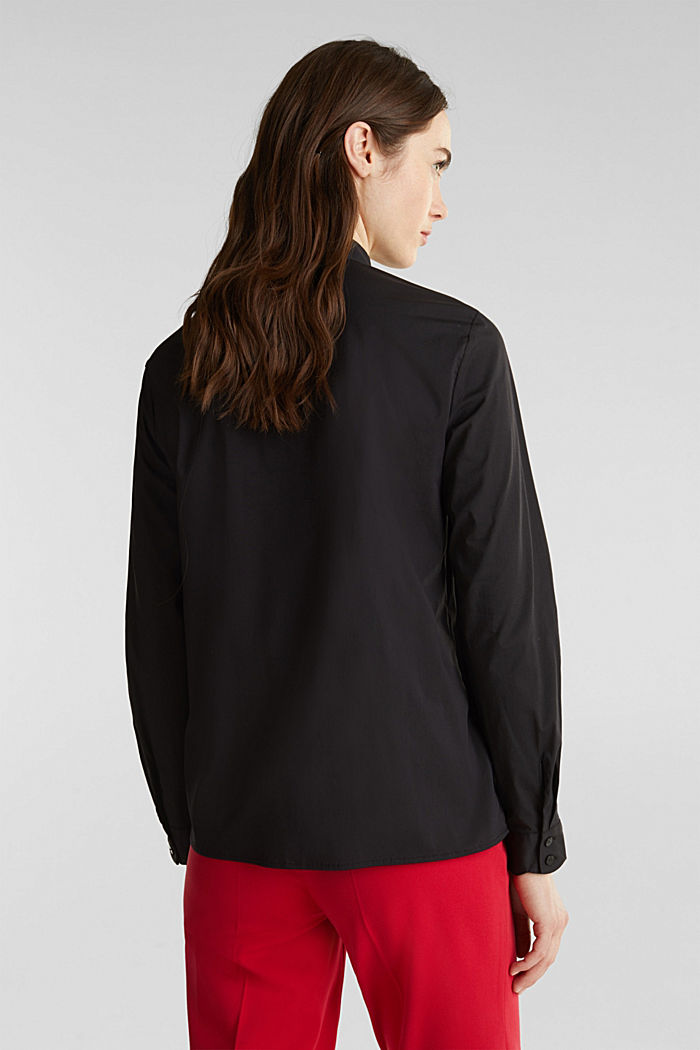 Slip-on blouse with a band collar and stretch, BLACK, detail image number 3