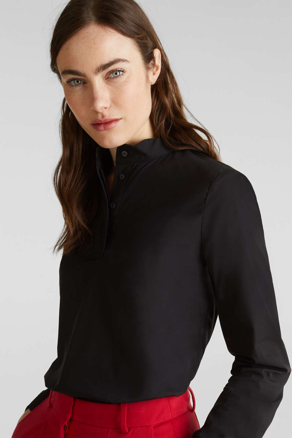 Slip-on blouse with a band collar and stretch, BLACK, detail image number 5
