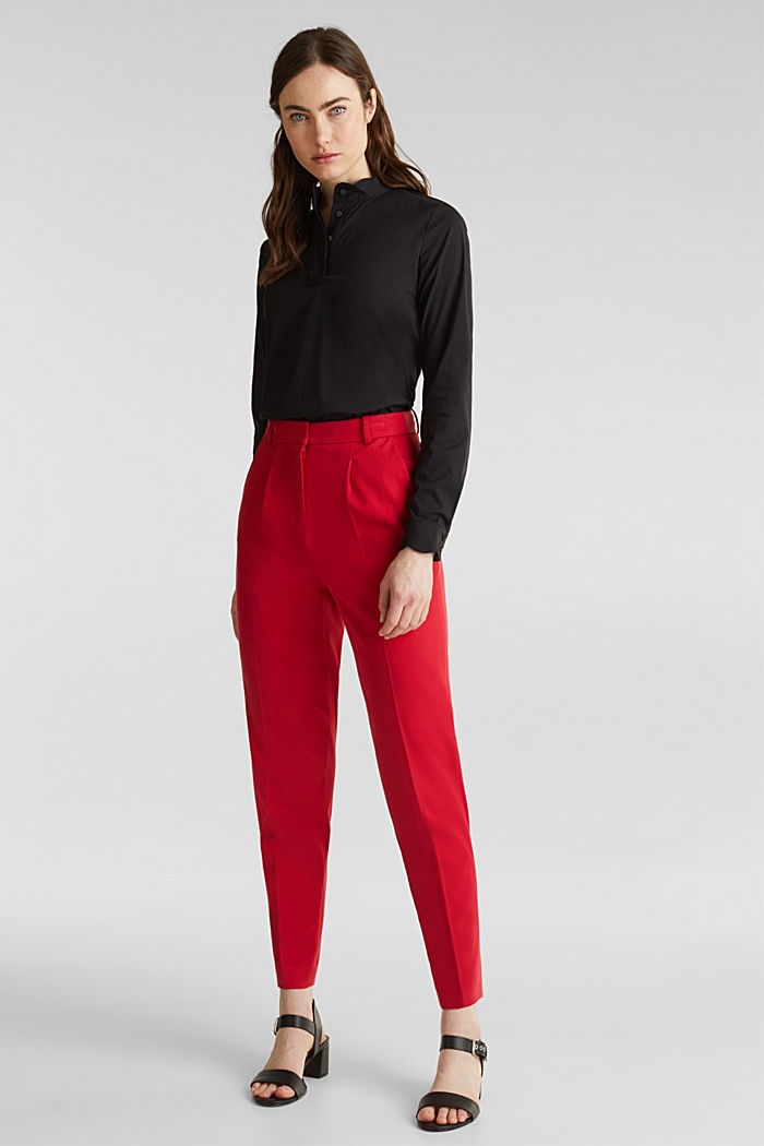 Slip-on blouse with a band collar and stretch, BLACK, detail image number 1