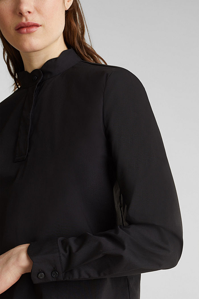 Slip-on blouse with a band collar and stretch, BLACK, detail image number 2