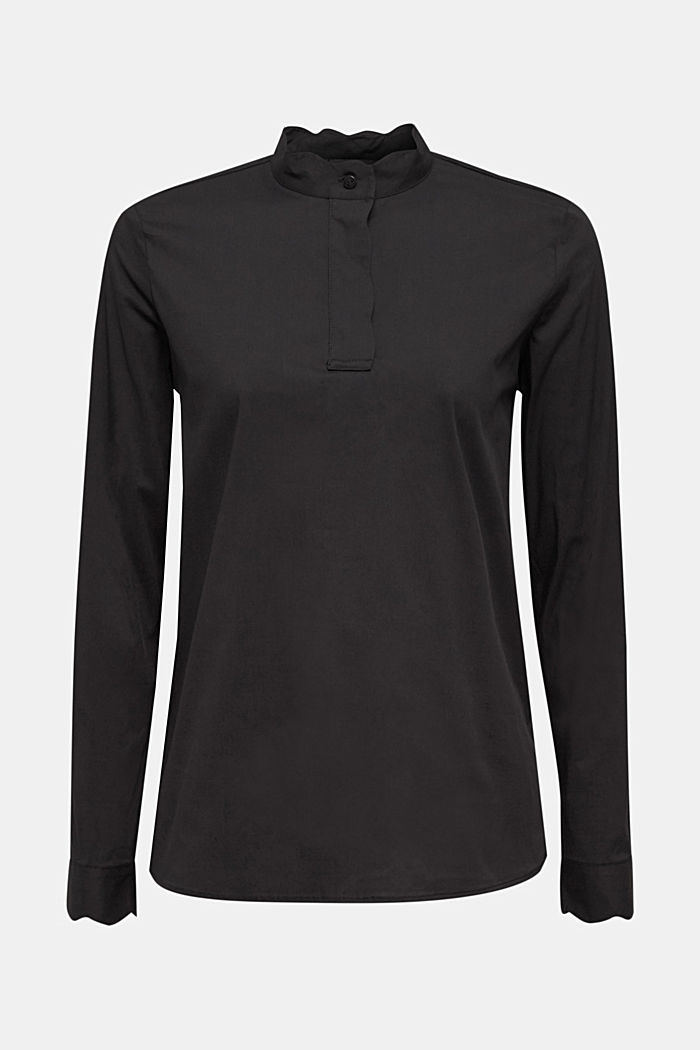 Slip-on blouse with a band collar and stretch, BLACK, detail image number 6