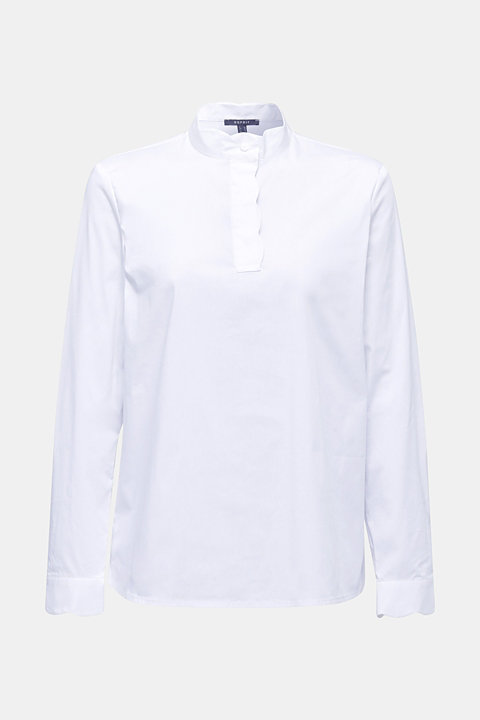 Slip-on blouse with a band collar and stretch
