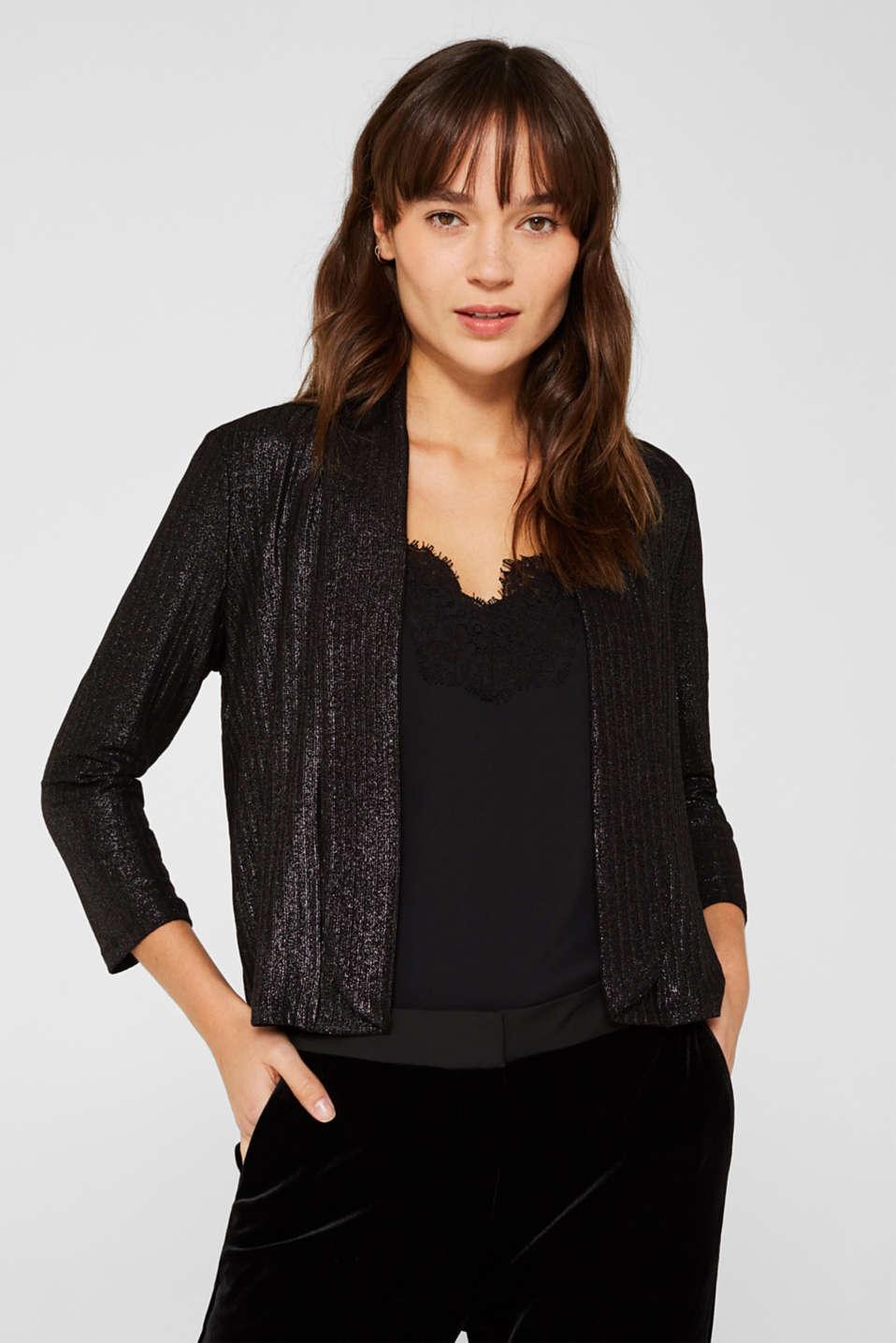 Jackets indoor knitted, BLACK, detail image number 0