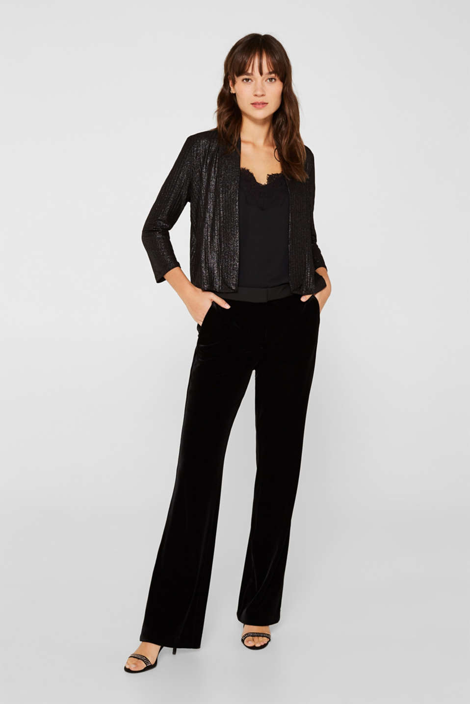 Jackets indoor knitted, BLACK, detail image number 1