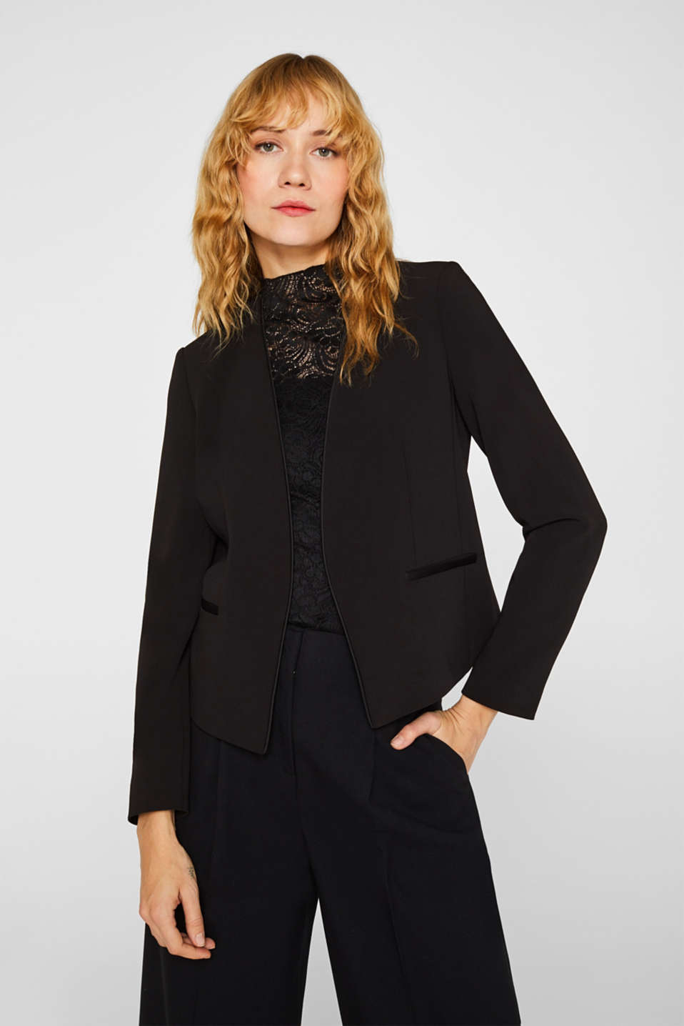 Cropped stretch blazer without a fastening, BLACK, detail image number 0