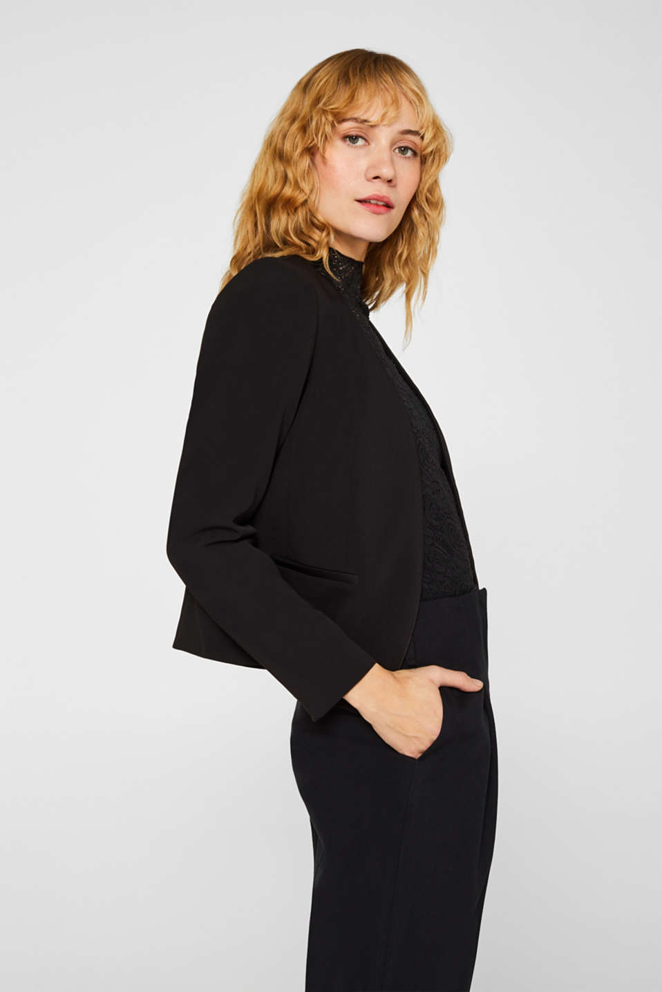 Cropped stretch blazer without a fastening, BLACK, detail image number 5