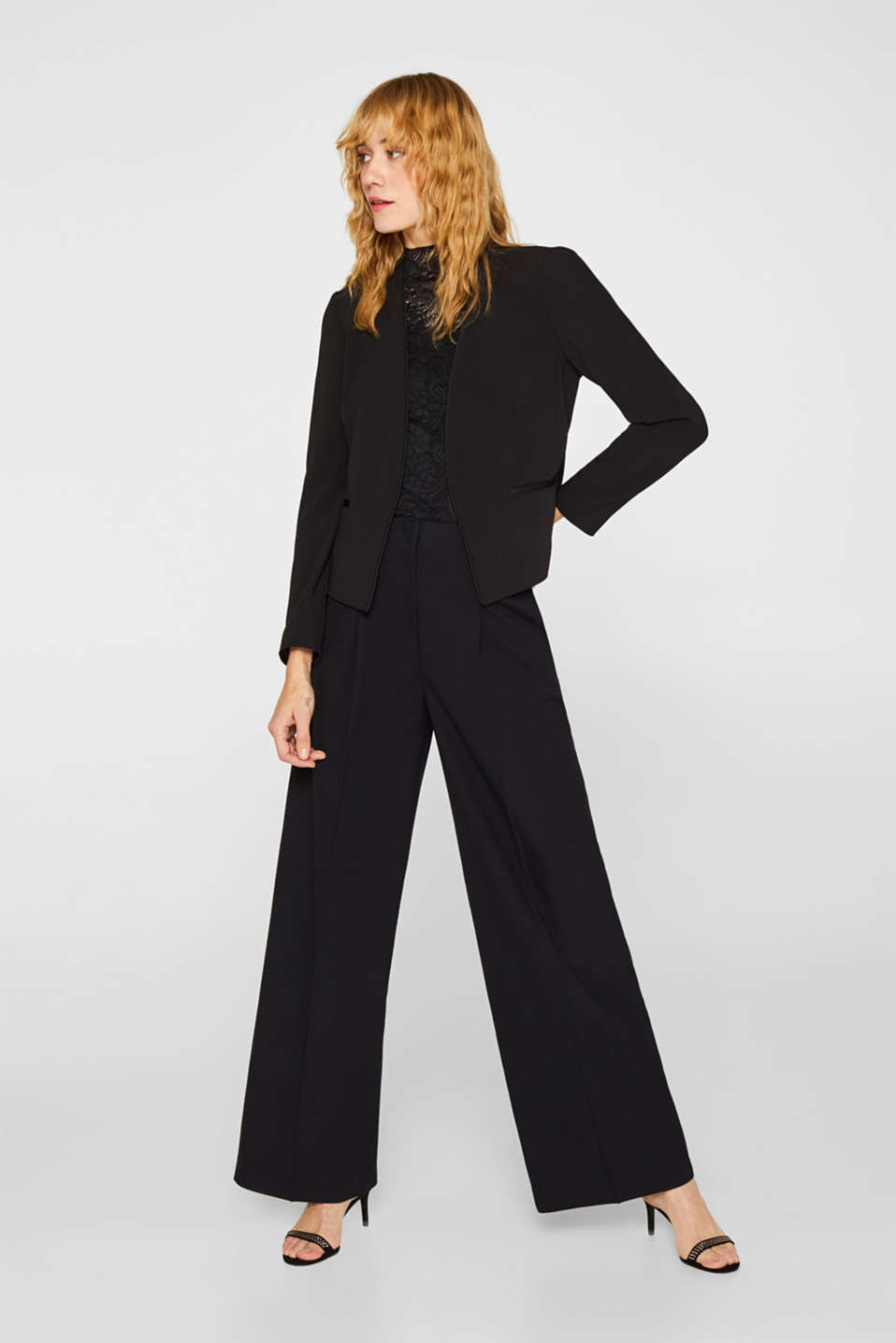 Cropped stretch blazer without a fastening, BLACK, detail image number 1