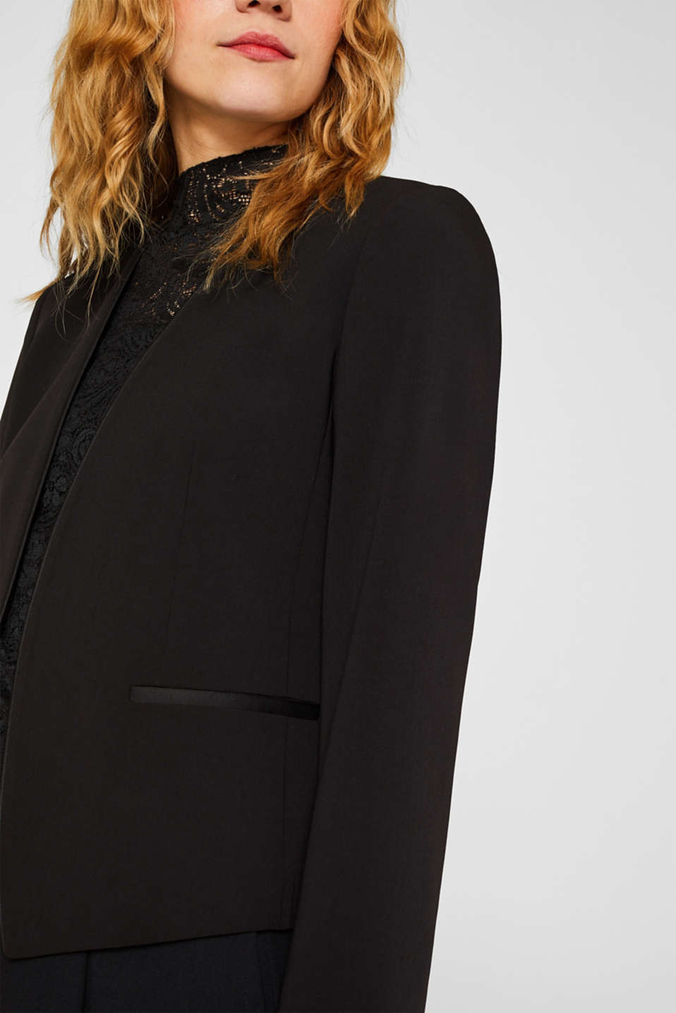 Cropped stretch blazer without a fastening, BLACK, detail image number 2