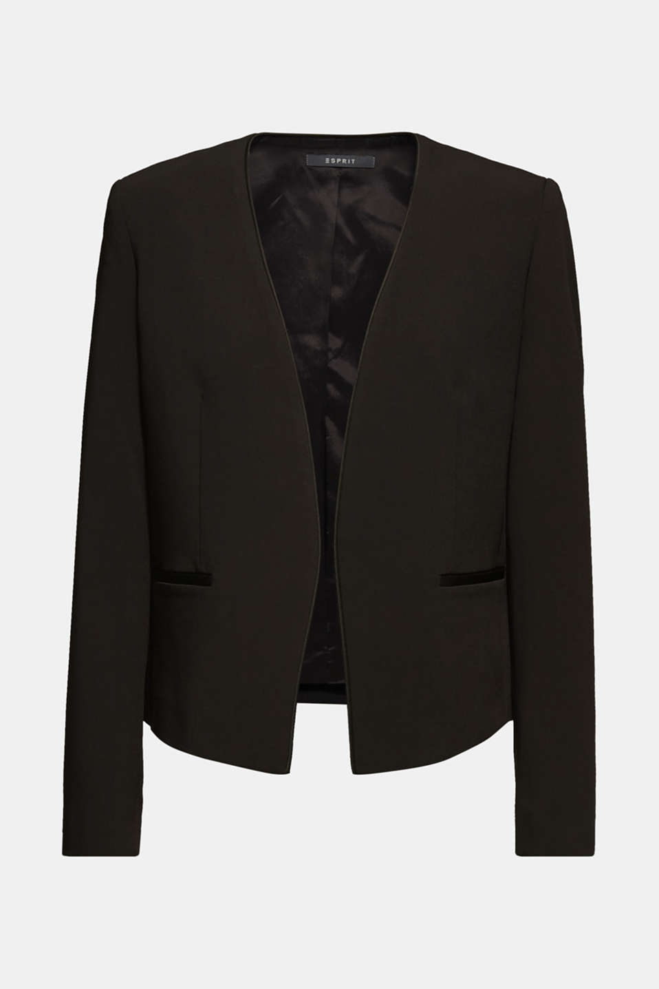 Cropped stretch blazer without a fastening, BLACK, detail image number 6