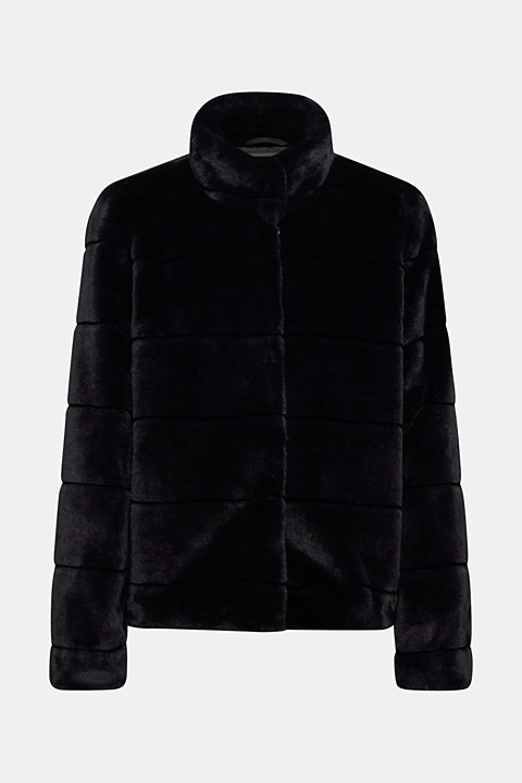 Faux fur jacket with a stand-up collar