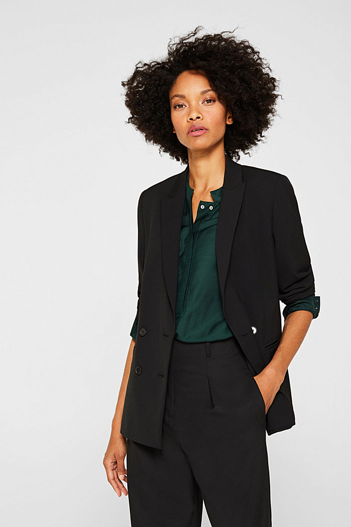 STRETCH FABRIC Mix + Match stretch blazer, BLACK, detail image number 0