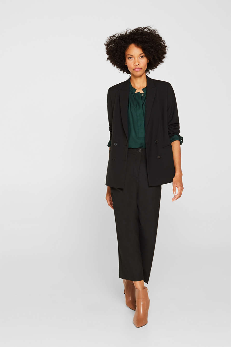 STRETCH FABRIC Mix + Match stretch blazer, BLACK, detail image number 1
