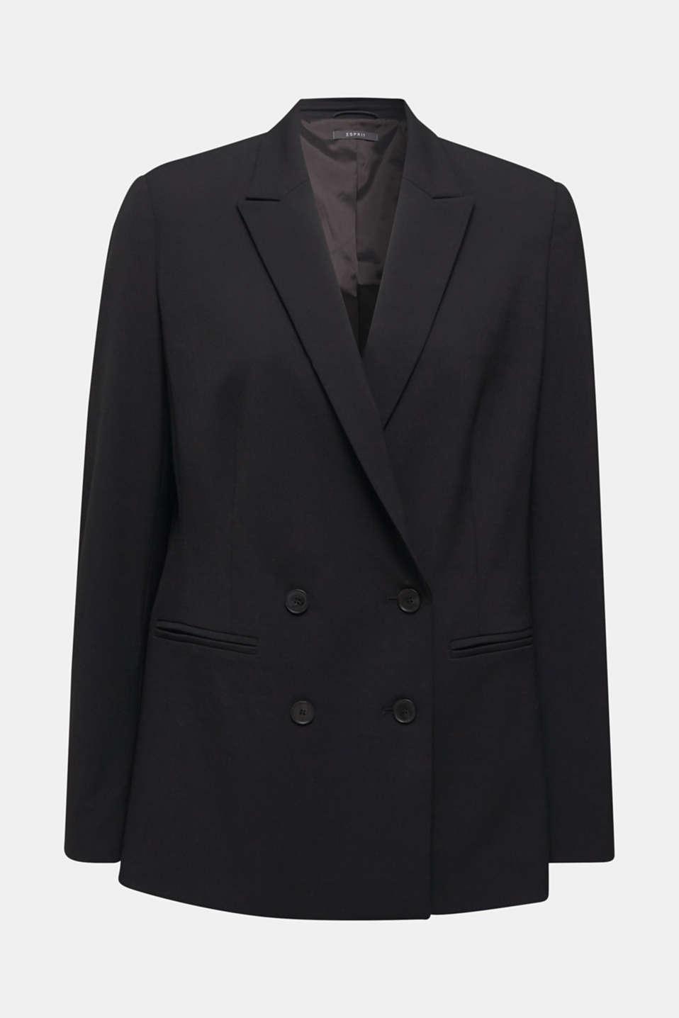 STRETCH FABRIC Mix + Match stretch blazer, BLACK, detail image number 5