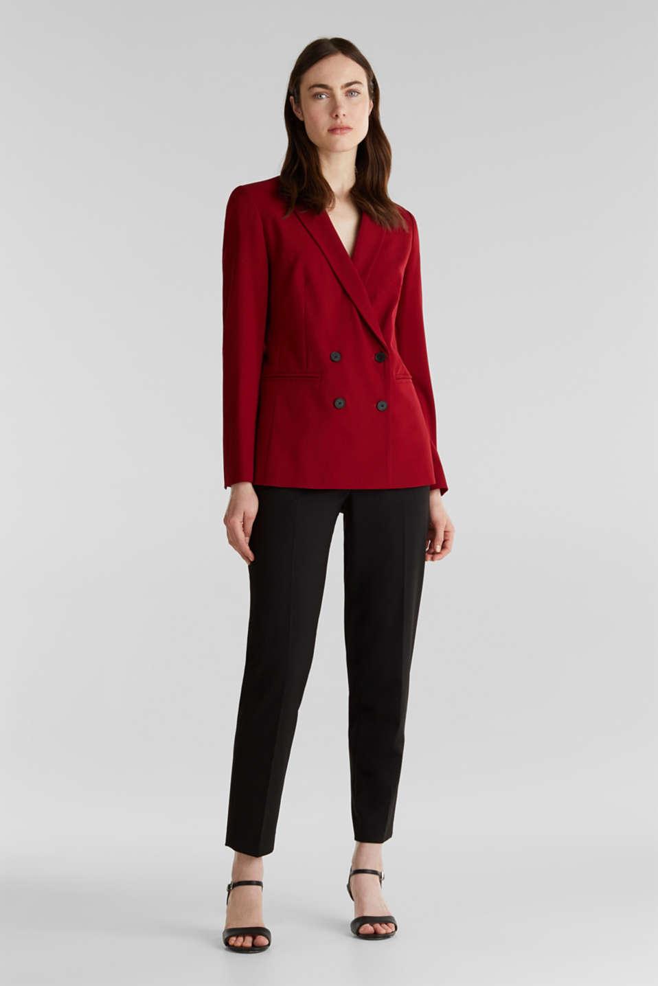 STRETCH FABRIC Mix + Match stretch blazer, DARK RED, detail image number 1